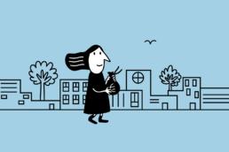 cartoon character walking town money blue background