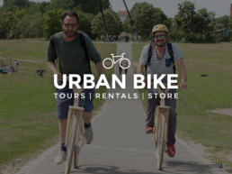 urban bike tours rental store logo 2 peronen auf woodfy bikes